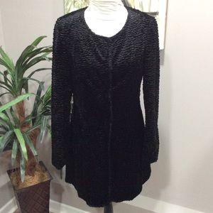 I.N.C. Black Textured Faux Fur Long Jacket